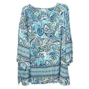 Avenue turquoise paisley blouse Size 26/28